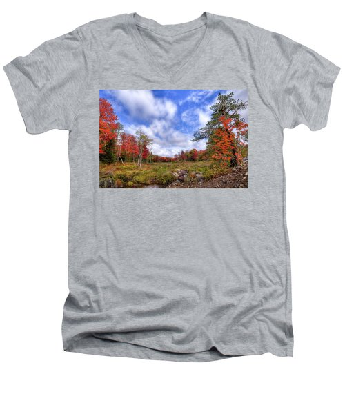Men's V-Neck T-Shirt featuring the photograph Autumn On The Stream by David Patterson