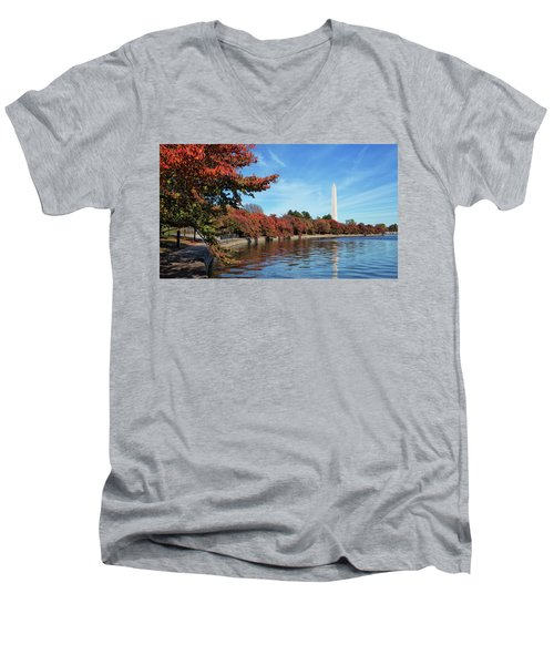 Autumn On Tidal Basin Men's V-Neck T-Shirt