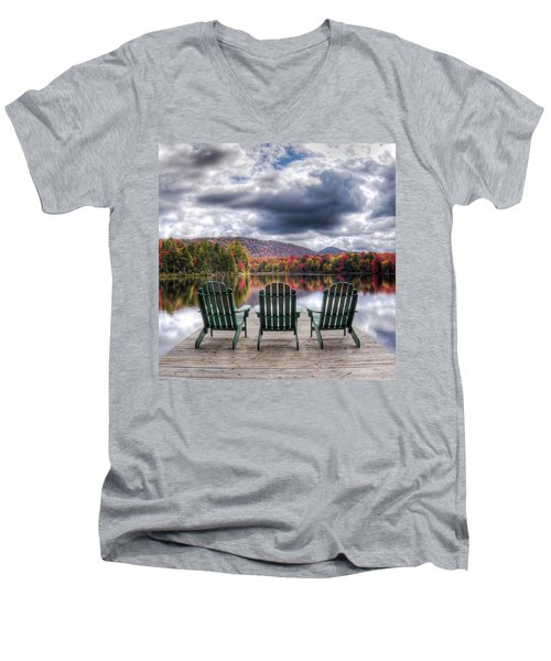 Men's V-Neck T-Shirt featuring the photograph Autumn On West Lake by David Patterson
