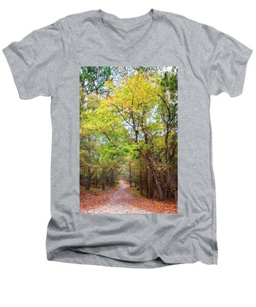 Men's V-Neck T-Shirt featuring the photograph Autumn Path by Alan Raasch