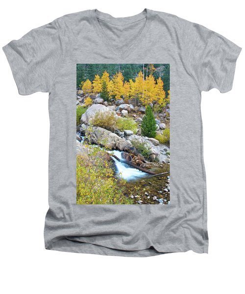 Men's V-Neck T-Shirt featuring the photograph Autumn Peace by Gary Lengyel