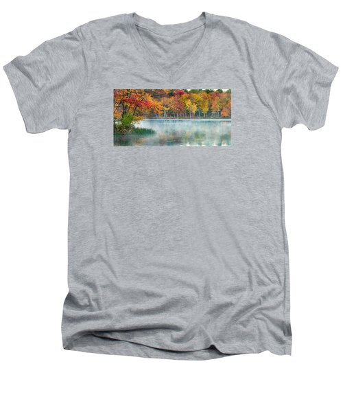 Autumn Pond Men's V-Neck T-Shirt by Brian Caldwell