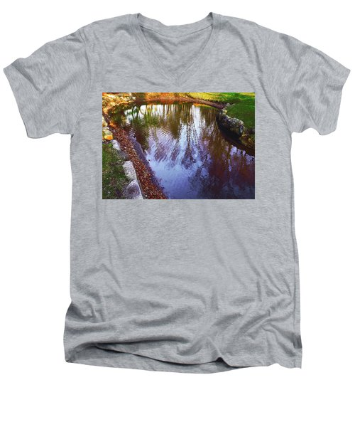 Autumn Reflection Pond Men's V-Neck T-Shirt