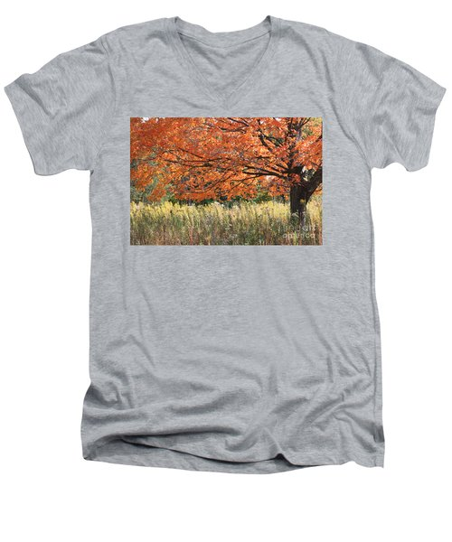 Men's V-Neck T-Shirt featuring the photograph Autumn Red   by Paula Guttilla