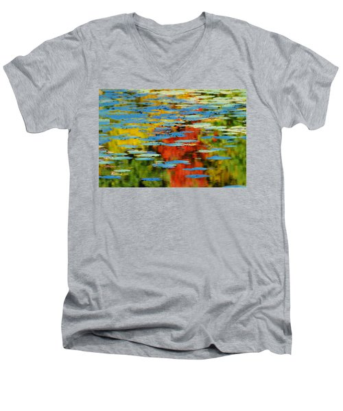 Men's V-Neck T-Shirt featuring the photograph Autumn Lily Pads by Diana Angstadt