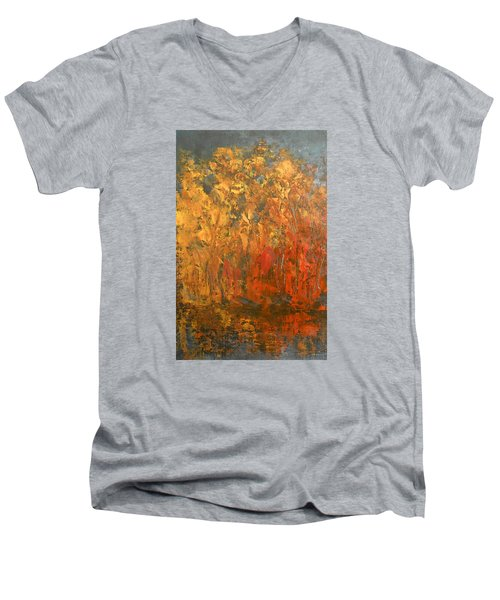 Men's V-Neck T-Shirt featuring the painting Autumn Reflections 1 by Jane See