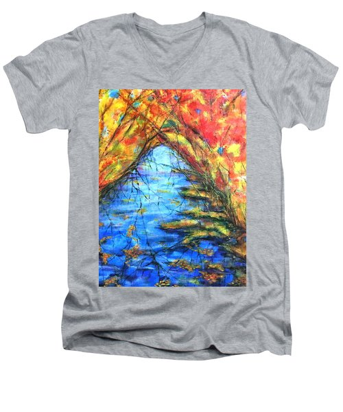 Men's V-Neck T-Shirt featuring the painting Autumn Reflections 2 by Rae Chichilnitsky