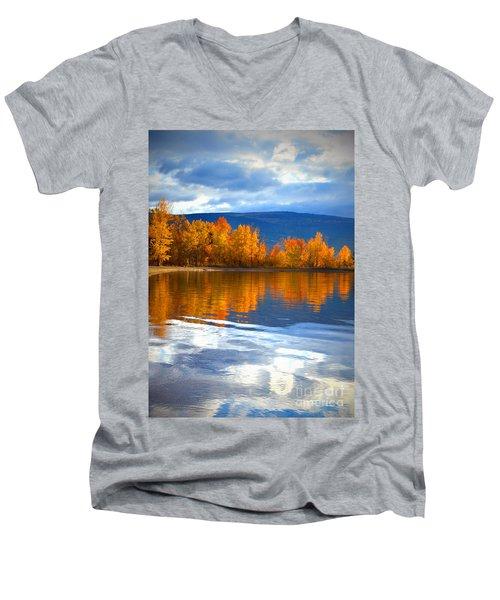 Autumn Reflections At Sunoka Men's V-Neck T-Shirt