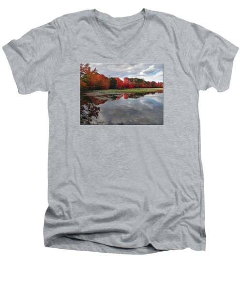 Autumn Reflections Men's V-Neck T-Shirt by Mikki Cucuzzo