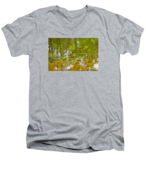 Men's V-Neck T-Shirt featuring the photograph Autumn Reflections by Wanda Krack