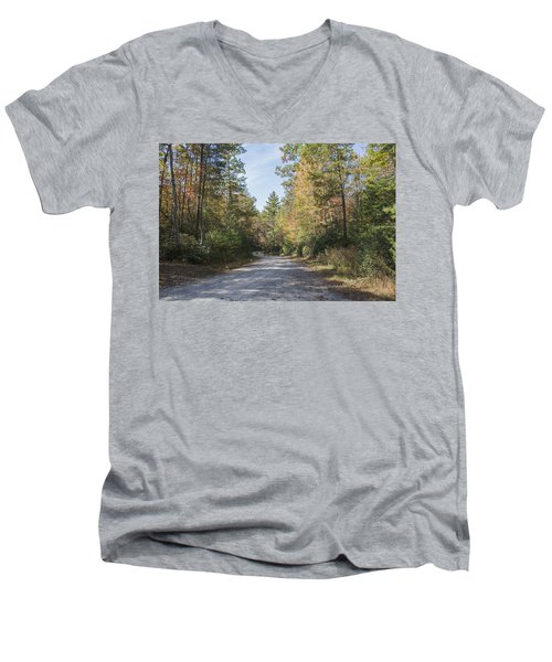 Autumn Road Men's V-Neck T-Shirt by Ricky Dean