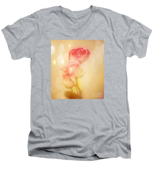 Men's V-Neck T-Shirt featuring the photograph Autumn Roses by Shirley Mangini