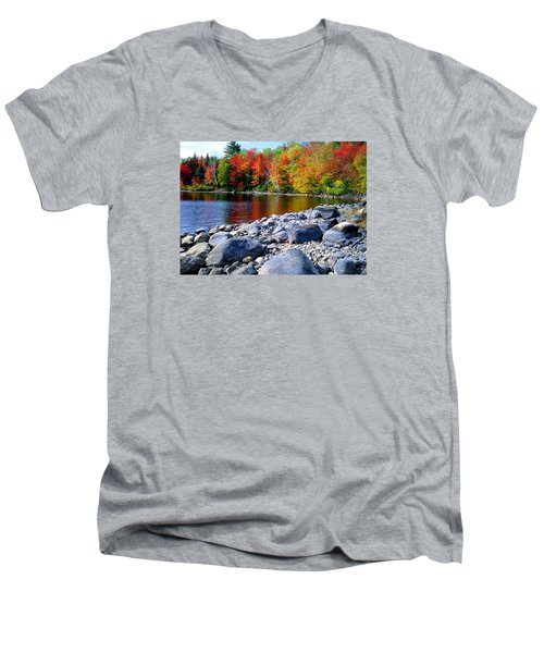 Autumn Shoreline Men's V-Neck T-Shirt