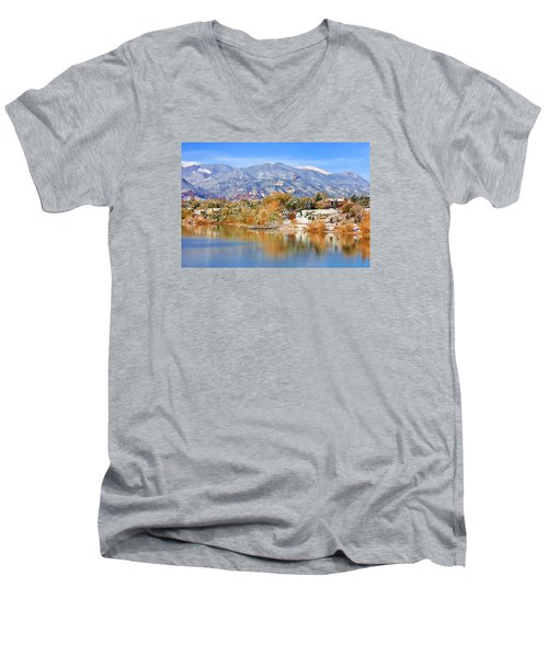 Men's V-Neck T-Shirt featuring the photograph Autumn Snow At The Lake by Diane Alexander