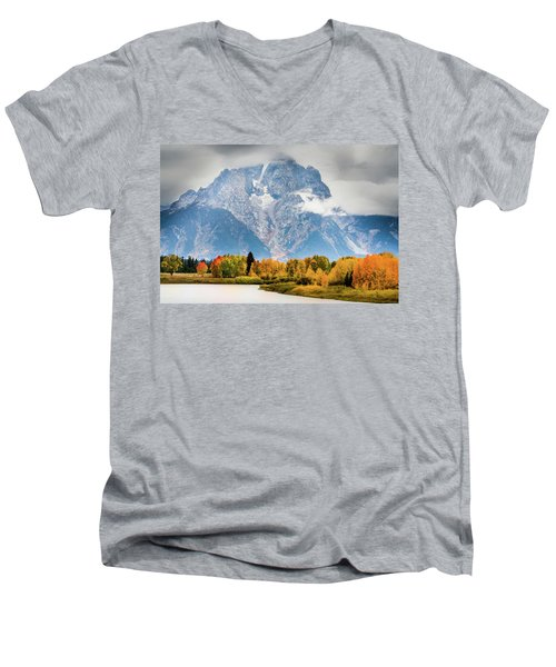 Autumn Storm Over Mount Moran Men's V-Neck T-Shirt