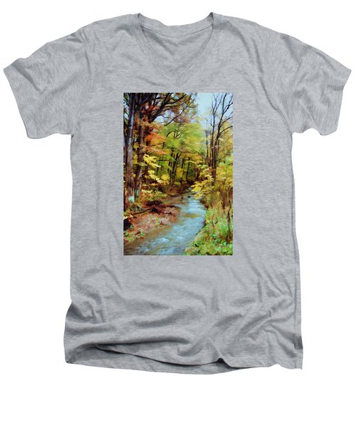 Men's V-Neck T-Shirt featuring the photograph Autumn Stream by Diane Alexander