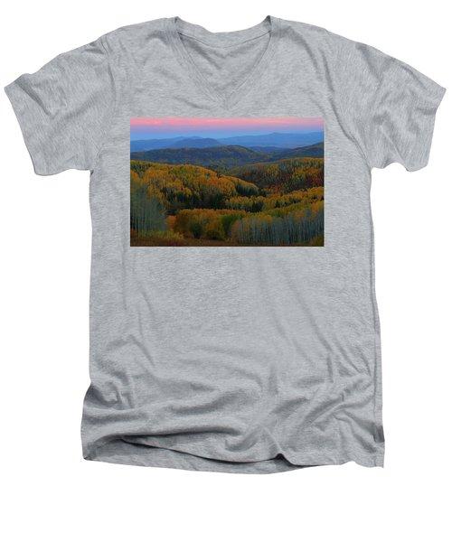 Autumn Sunrise At Rainbow Ridge Colorado Men's V-Neck T-Shirt