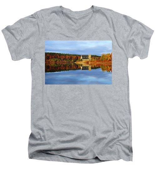 Autumn Sunrise At Wachusett Reservoir Men's V-Neck T-Shirt