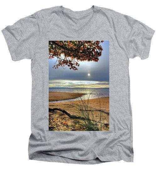Autumn Sunrise On The James Men's V-Neck T-Shirt