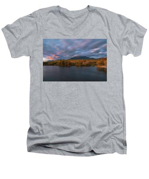 Autumn Sunset At Mount Katahdin Men's V-Neck T-Shirt