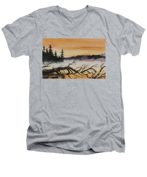 Men's V-Neck T-Shirt featuring the painting Autumn Sunset Mist by James Williamson
