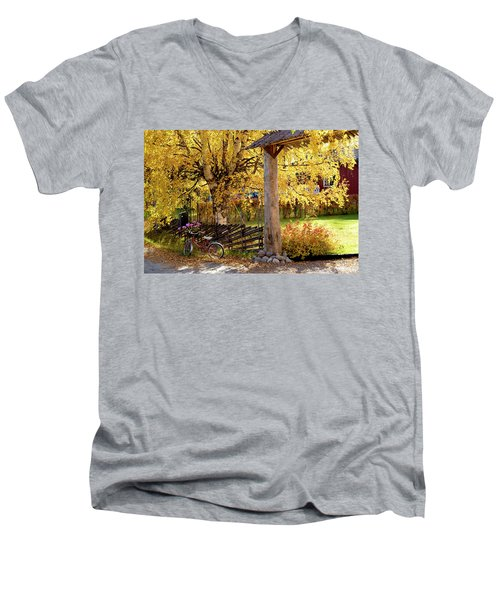 Rural Rustic Autumn Men's V-Neck T-Shirt by Tamara Sushko