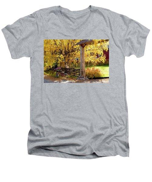 Rural Rustic Autumn Men's V-Neck T-Shirt