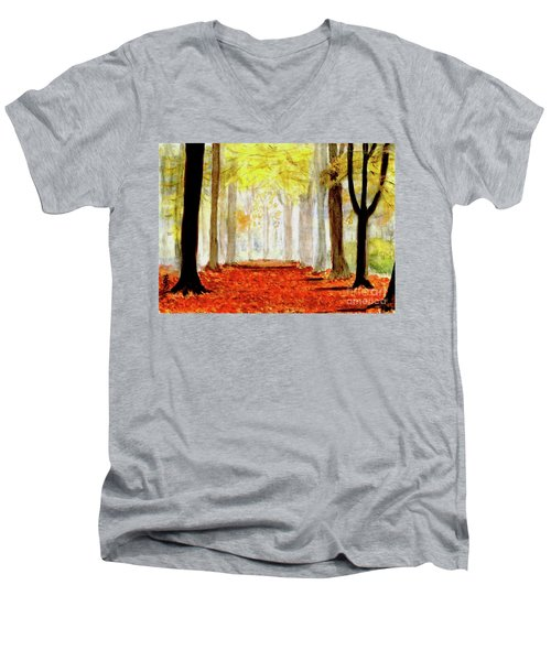 Men's V-Neck T-Shirt featuring the painting Autumn Trail by Yoshiko Mishina