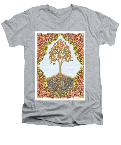 Autumn Tree With Knotted Roots And Knotted Border Men's V-Neck T-Shirt by Lise Winne