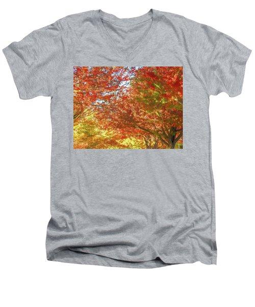 Autumn Trees Digital Watercolor Men's V-Neck T-Shirt