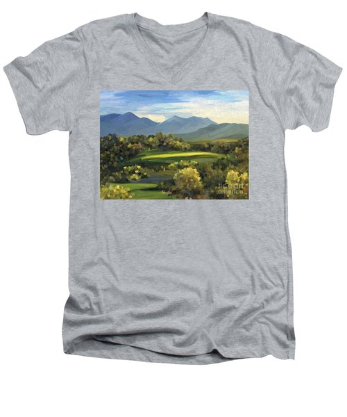 Men's V-Neck T-Shirt featuring the painting Autumn Trees by Ivana Westin