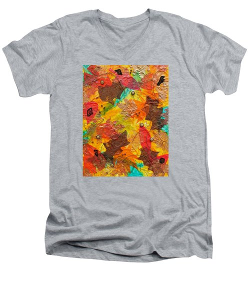 Autumn Leaves Underfoot Men's V-Neck T-Shirt by Michele Myers