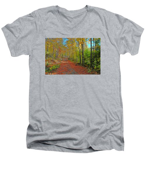 Men's V-Neck T-Shirt featuring the digital art Autumn Walk by John Selmer Sr