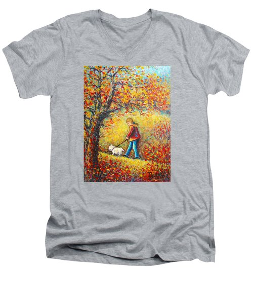 Men's V-Neck T-Shirt featuring the painting Autumn Walk  by Natalie Holland