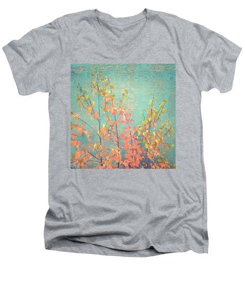Men's V-Neck T-Shirt featuring the photograph Autumn Wall by Ari Salmela