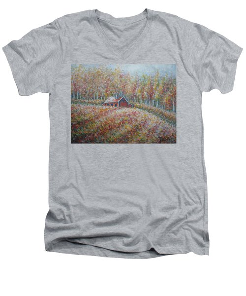 Men's V-Neck T-Shirt featuring the painting Autumn Whisper. by Natalie Holland