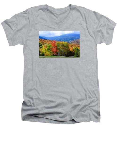 Autumn White Mountains Nh Men's V-Neck T-Shirt by Michael Hubley