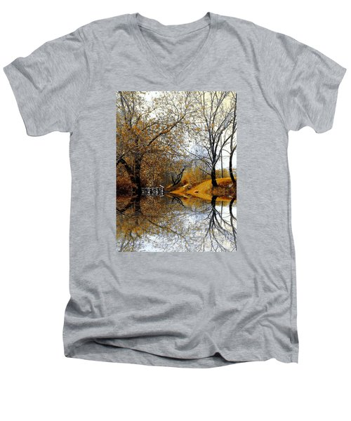 Autumnal Men's V-Neck T-Shirt by Elfriede Fulda