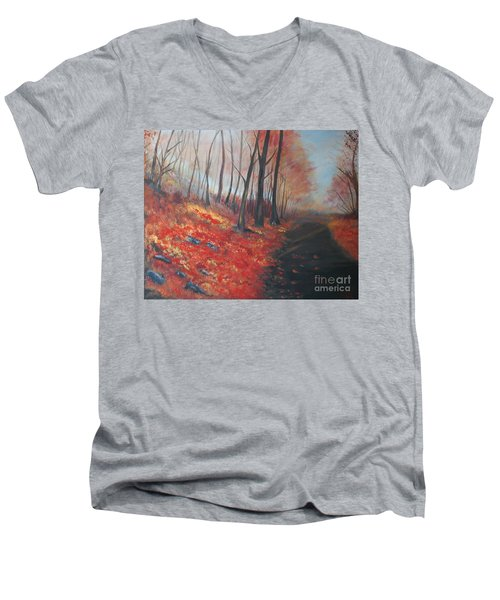 Men's V-Neck T-Shirt featuring the painting Autumns Pathway by Leslie Allen