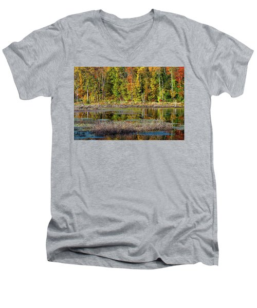Men's V-Neck T-Shirt featuring the photograph Autumns Quiet Moment by Karol Livote