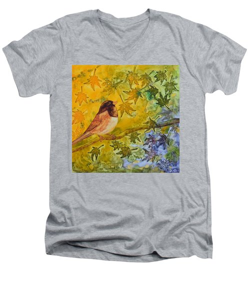 Autumn's Song Men's V-Neck T-Shirt by Nancy Jolley