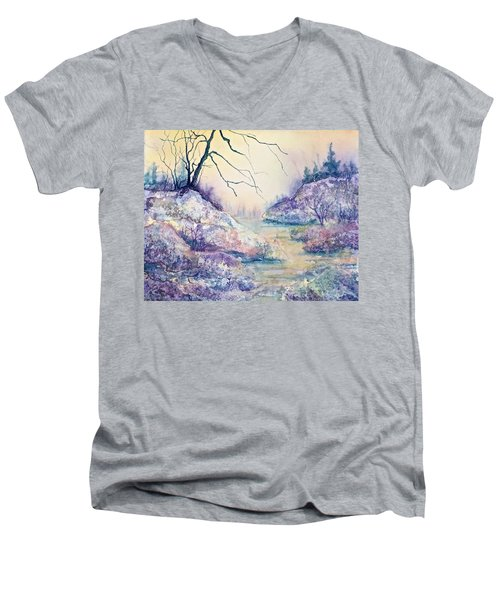 Men's V-Neck T-Shirt featuring the painting Autumnscape In Purple by Carolyn Rosenberger