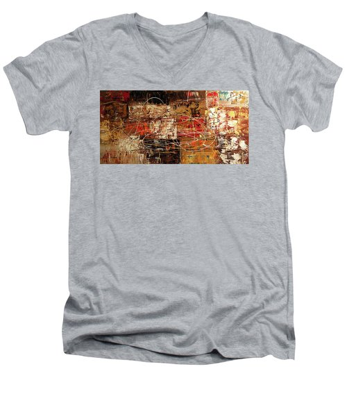 Men's V-Neck T-Shirt featuring the painting Avant Garde by Carmen Guedez