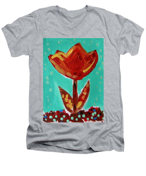 Avis-flowers From The Flower Patch Men's V-Neck T-Shirt by Mary Carol Williams