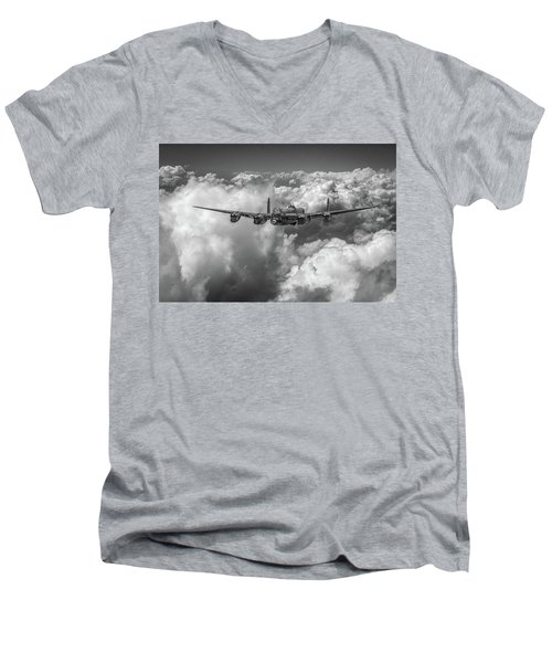 Avro Lancaster Above Clouds Bw Version Men's V-Neck T-Shirt by Gary Eason