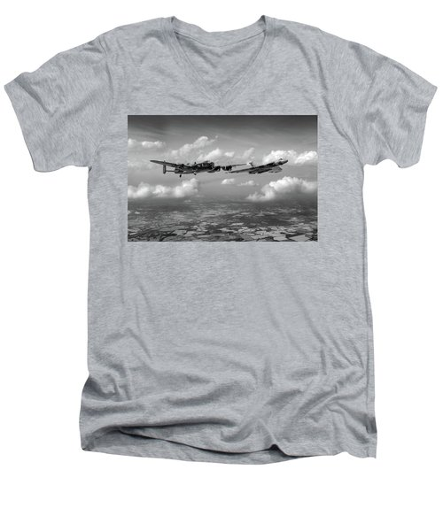Men's V-Neck T-Shirt featuring the photograph Avro Sisters Bw Version by Gary Eason