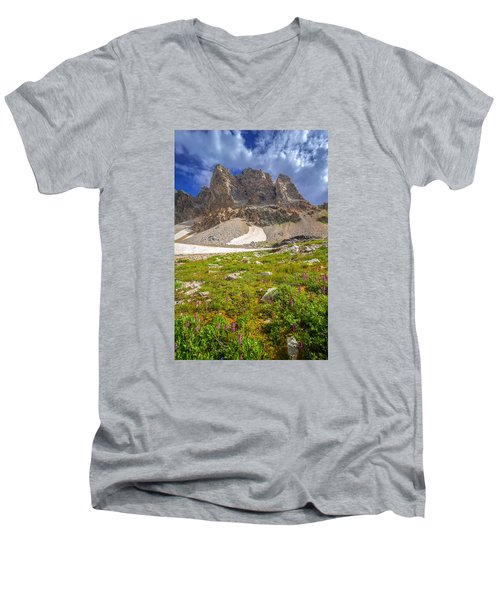 Awe Inspring Grand Teton Landscape Men's V-Neck T-Shirt by Serge Skiba