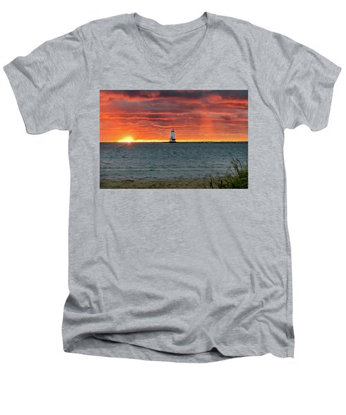 Awesome Sunset With Lighthouse  Men's V-Neck T-Shirt