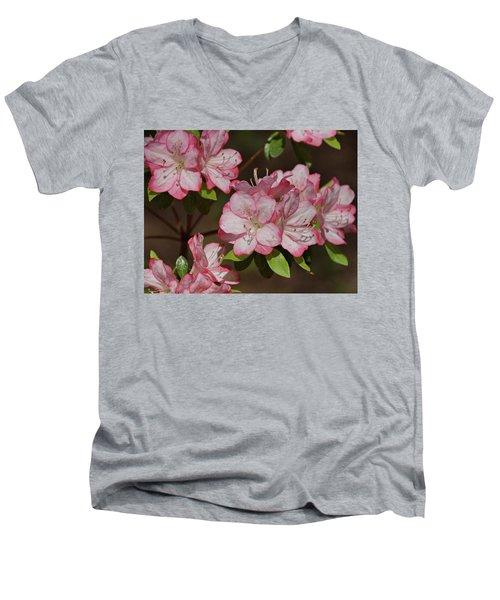 Men's V-Neck T-Shirt featuring the photograph Azalea by Sandy Keeton