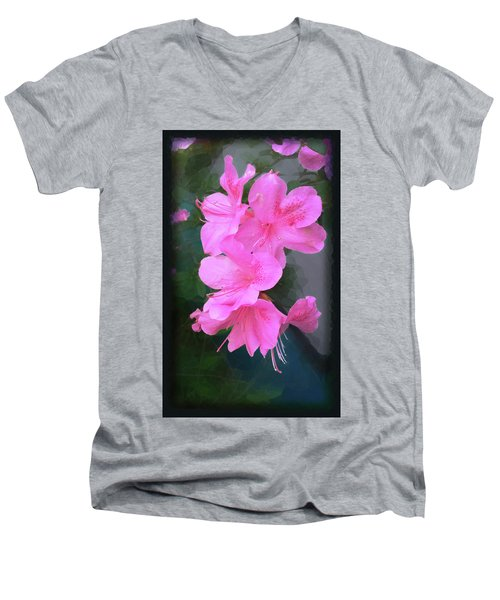 Men's V-Neck T-Shirt featuring the digital art Azalea Spray by Ginny Schmidt